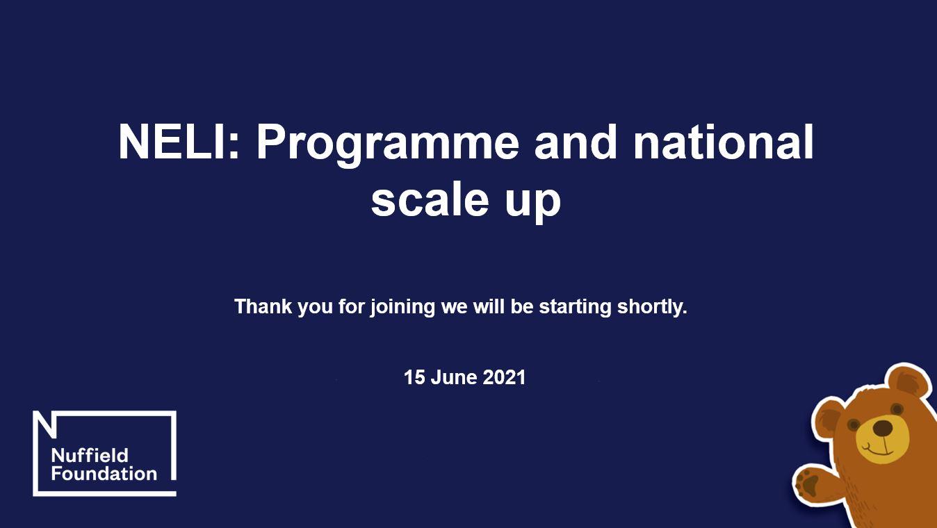 NELI programme and national scale up webinar title slide